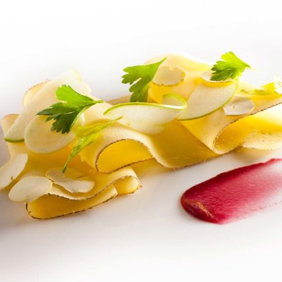 Hobel Chas with shaved Chestnuts and Apples prepared by Daniel Humm, Executive Chef of Eleven Madison Park, NY.